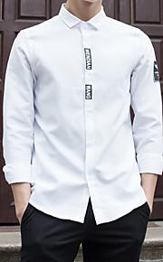 メンズ お出かけ カジュアル/普段着 ホリデー オールシーズン シャツ,シンプル ストリートファッション 活発的 スタンド ソリッド コットン ポリエステル 長袖 ミディアム
