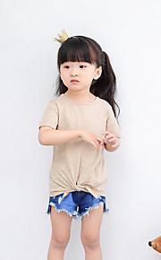 T-Shirt Lässig/Alltäglich Strand Urlaub einfarbig Baumwolle Sommer Kurzarm Normal