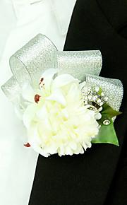 פרחי חתונה בצורה חופשיה שושנים פרחי אדמוניות פרחי דש חתונה חתונה/ אירוע סאטן