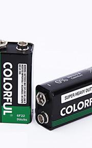 farverige 9v zink tørbatteri 9v 10 pack