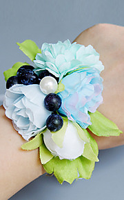 Wedding Flowers Free-form Roses Peonies Wrist Corsages Wedding Party/ Evening Light Blue Satin Lace