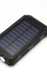 Power bank med sol oplader 20000mah lommelygte kompas usb til udendørs ture