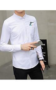 אחיד צווארון חולצה פשוטה יום יומי\קז'ואל חולצה גברים שרוול ארוך דק כותנה