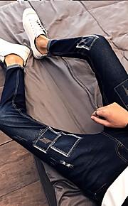 Herr Enkel Mikroelastisk Jeans Byxor,Låg midja Ledig Enfärgat
