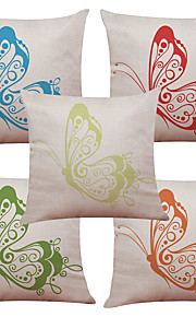 Set of 5 Beautiful Color Butterfly Pattern  Linen Pillowcase Sofa Home Decor Cushion Cover (18*18inch)