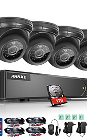 Annke ® 8ch 4 stk 720p hd video 1080n 5 i 1 dvr eye spy monitor ir skåret nat vision vandtæt overvågningssystem 1tb