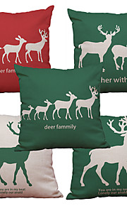 Set of 5 Western Style Deer Pattern  Linen Pillowcase Sofa Home Decor Cushion Cover (18*18inch)
