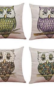 Set of 4 Cartoon  Owl Pattern   Linen Pillowcase Sofa Home Decor Cushion Cover