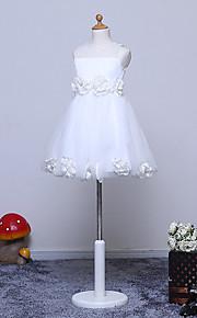 Trapèze Mi-long Robe de Demoiselle d'Honneur Fille - Tulle Bijoux avec Fleur(s)