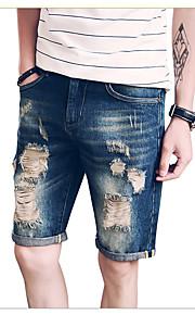 Herr Bohem Streetchic Icke-elastiskt Jeans Byxor,Låg midja Ledig Rak Enfärgat