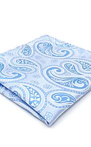 CH9 Handmade New For Mens Pocket Square Handkerchiefs Blue Paisley 100% Silk Jacquard Woven Business