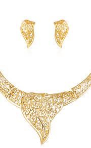 Set de Bijoux Collier Boucles d'oreilles Mode euroaméricains Strass Alliage Forme de Feuille 1 Collier 1 Paire de Boucles d'Oreille Pour