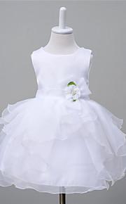 Robe de Soirée Mi-long Robe de Demoiselle d'Honneur Fille - Organza Satin Polyester Bijoux avec Noeud(s) Fleur(s) Ceinture / Ruban