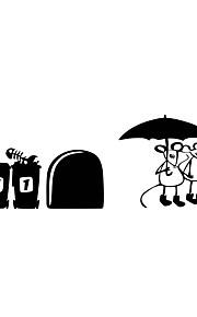 מדבקות קיר מדבקות קיר בסגנון עכבר להתקשר מטריה pvc מדבקות קיר