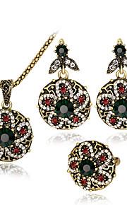 Set de Bijoux Pendentif de collier Bague Mode euroaméricains Résine Strass Alliage Forme de Fleur1 Collier 1 Paire de Boucles d'Oreille