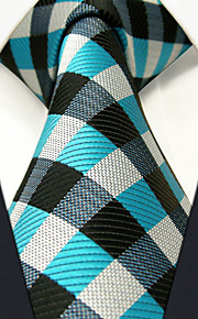 PXL13 Men's Necktie Blue Multicolor Checked 100% Silk Business Fashion Wedding For Men