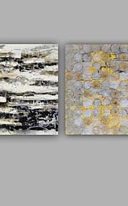 Maalattu Abstrakti Neliö,Moderni Classic 2 paneeli Kanvas Hang-Painted öljymaalaus For Kodinsisustus
