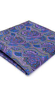 CH14 Men's Classic Pocket Square Handkerchiefs Gray Purple Multicolor Abstract Paisley 100% Silk Unique Fashion Dress Casual