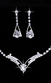 Women's Drop Earrings Choker Necklaces Bridal Jewelry Sets Silver Rhinestone   Vintage Classic Elegant Jewelry Sets For Wedding Party Engagement