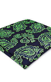 CH18 New Men's Pocket Square Handkerchiefs Blue Green Paisley 100% Silk Wedding Casual Business Unique Handmade