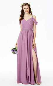 Sheath / Column Spaghetti Straps Floor Length Chiffon Bridesmaid Dress with Sash / Ribbon Split Front Criss Cross Pleats byLAN TING