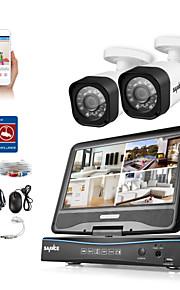 Sannce® 4ch 2 stk 1080p lcd dvr vejrbestandigt sikkerhedssystem understøttet analog ahd tvi ip kamera uden hdd