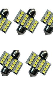 5pcs auto festoon koepel lamp 31mm 1.5w 16smd 3528 chip 80-100lm wit 6500-7000k dc12v leeslamp nummerplaat lichten