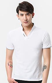남성 솔리드 스탠딩 카라 짧은 소매 Polo,심플 일상 면 여름 중간