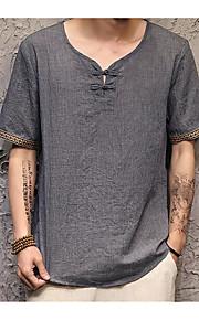 남성 솔리드 라운드 넥 짧은 소매 티셔츠,시누아즈리 캐쥬얼 면 린넨 여름 얇음