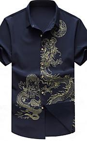 남성 패턴 셔츠 카라 짧은 소매 셔츠,심플 일상 캐쥬얼 면 여름