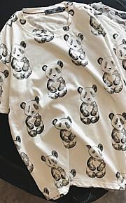 남성 팬더 라운드 넥 짧은 소매 티셔츠,심플 일상 니트웨어 여름 중간