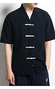 남성 솔리드 스탠드 짧은 소매 셔츠,시누아즈리 캐쥬얼 면 여름 얇음