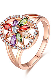 Women's Ring Colourful Multi-stone AAA Cubic Zirconia Cute  Elegant Rose Gold   Ring Jewelry For Wedding Anniversary Party