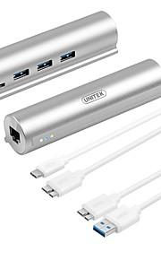 Unitek 3 Portit USB-keskitin USB 3.0 Ethernet Data Hub