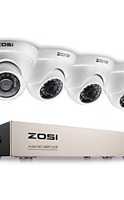 Zosi® 2.0mp 1080p hd 4 ch dvr tvi overvågningssæt 4pcs 2000tvl udendørs ir nattesyn kamera cctv system