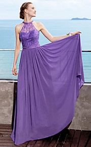 A-Line Jewel Neck Floor Length Chiffon Bridesmaid Dress with Beading Lace Sash / Ribbon Pleats by LAN TING BRIDE®