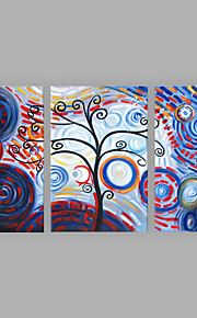 Hand-Painted Artistic Abstract Rich Tree Three Panel Canvas Oil Painting For Home Decoration
