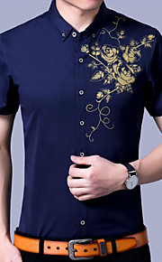 남성 플로럴 버튼 다운 카라 짧은 소매 셔츠,심플 일상 캐쥬얼 면