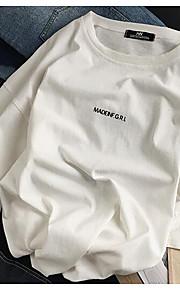 남성 솔리드 라운드 넥 짧은 소매 티셔츠,심플 일상 면 중간
