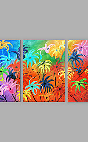 Hand-Painted Artistic Abstract Flowers Three Panel Canvas Oil Painting For Home Decoration