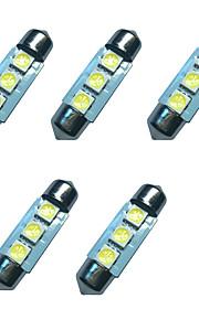 5pcs auto festoon koepel lamp 36mm 1w 3smd 5050 chip 80-100lm 6500-7000k dc12v leeslamp nummerplaat lichten