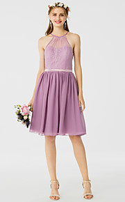 A-Line Princess Halter Knee Length Chiffon Lace Bridesmaid Dress with Sash / Ribbon Pleats by LAN TING BRIDE®
