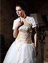 Short Sleeve Satin Applique Bridal Jacket/ Wedding Wrap (WSM0542)