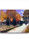 handmålade oljemålning väg i parken vid Arles, ca 1888 av Vincent van Gogh med sträckt ram
