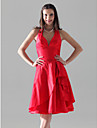 Lanting Bride® Mi-long Taffetas Robe de Demoiselle d\'Honneur - Trapeze / Princesse Licou / Col en V Grande Taille / Petite avecVolants /