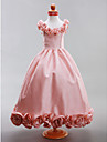 Lanting Bride A-line / Princess Floor-length Flower Girl Dress - Taffeta Sleeveless Scoop with Draping / Flower(s)