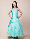 Floor-length Satin / Organza Junior Bridesmaid Dress Ball Gown Spaghetti Straps