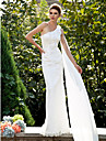 Lanting Bride® Trumpet / Mermaid Petite / Plus Sizes Wedding Dress - Classic & Timeless Lacy Looks Sweep / Brush Train One Shoulder Lace