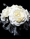 "Wedding Flowers Round Roses Bouquets Wedding White Satin / Crystal White 9.84""(Approx.25cm)"