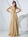 TS Couture Formal Evening Military Ball Dress - Elegant Sheath / Column Off-the-shoulder Floor-length Chiffon withBeading Lace Side